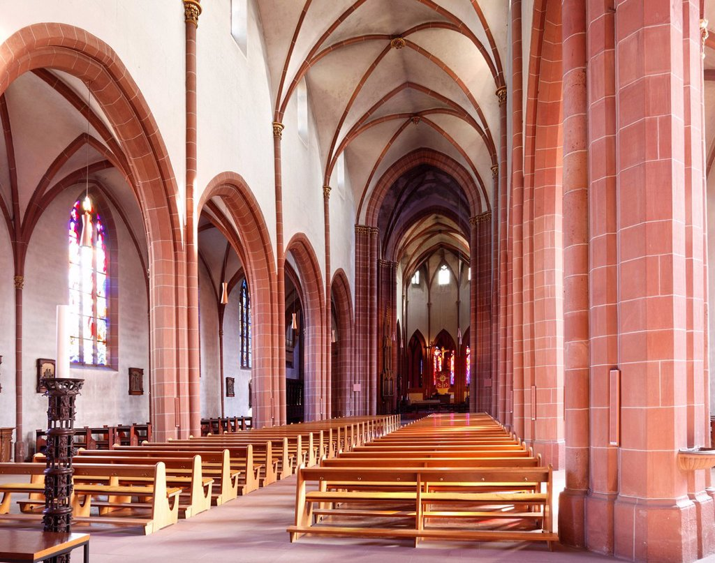Nave of the Gothic Liebfrauenkirche, Church of Our Lady, Worms, Rhineland_Palatinate, Germany, Europe : Stock Photo