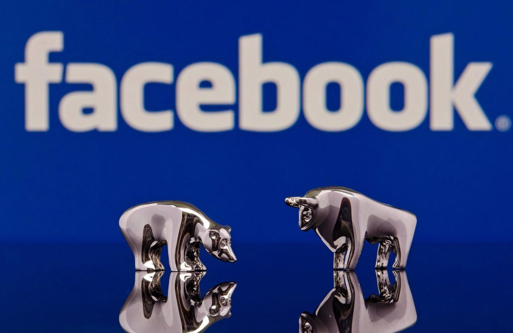 The bull and the bear standing in front of a Facebook logo, symbolic image for the Facebook stock market launch : Stock Photo