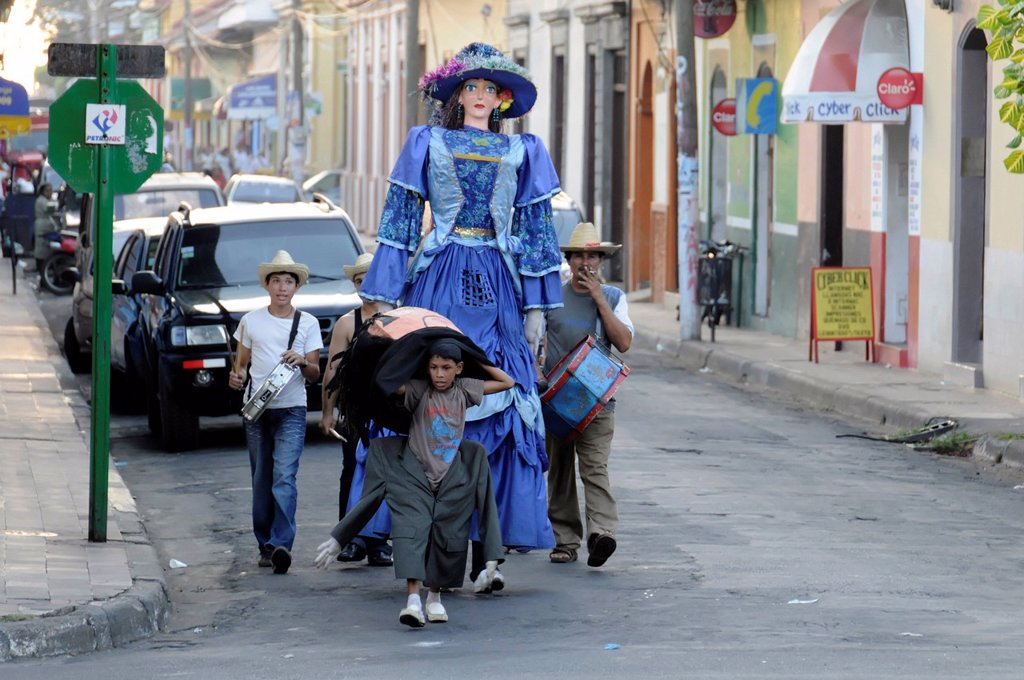 Stock Photo: 1848-588037 Parade, youth playing music, drama, history, fundraising, Leon, Nicaragua, Central America