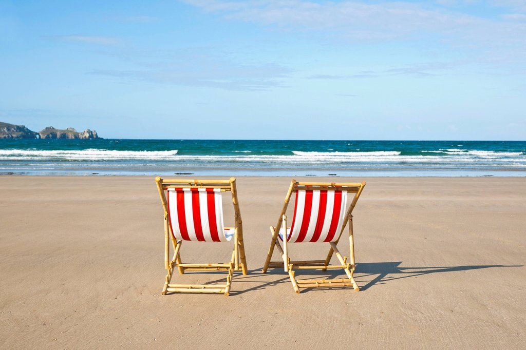 Two empty deck chairs on the beach, Camaret_sur_Mer, Finistere, Brittany, France, Europe : Stock Photo