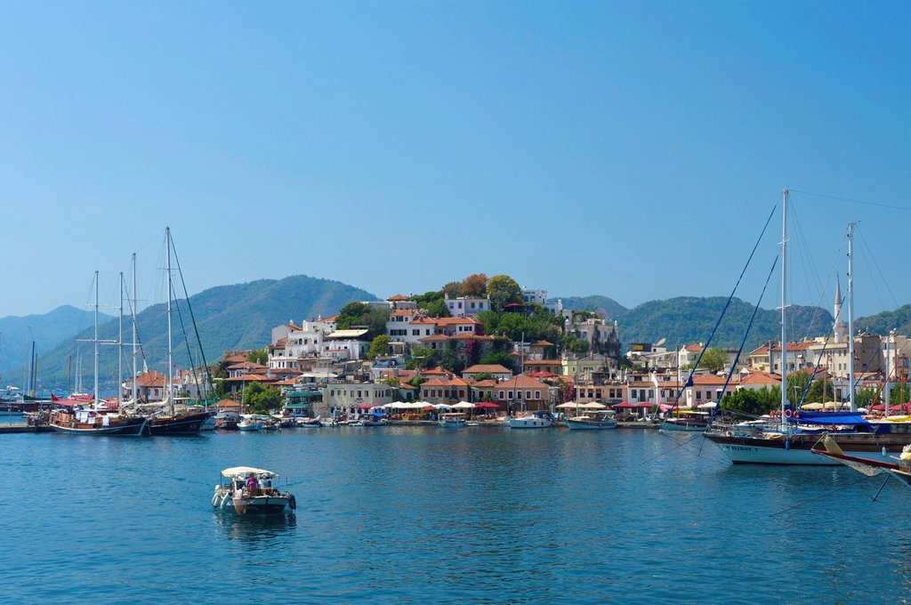 Stock Photo: 1848-588246 Old town and marina in Marmaris, Turkish Aegean Coast, Turkey