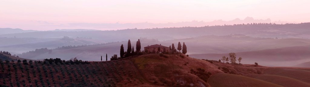 Stock Photo: 1848-588342 Podere Belvedere in the morning light, San Quirico d´Orcia, Tuscany, Italy, Europe, PublicGround