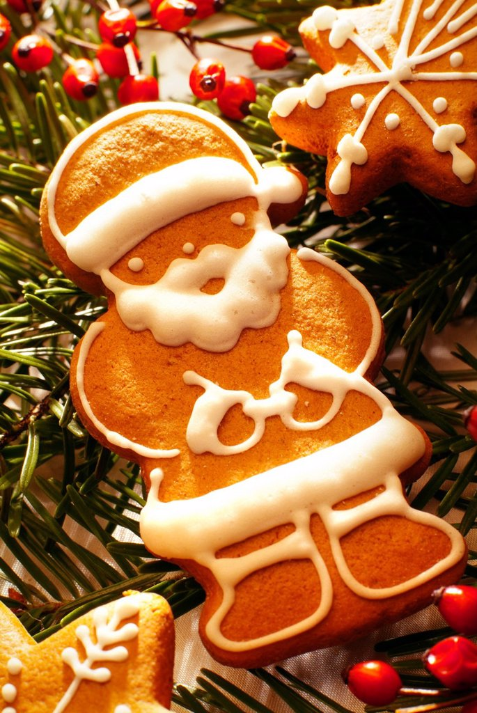 Stock Photo: 1848-588488 Santa Claus as a gingerbread figure, Christmas cookies