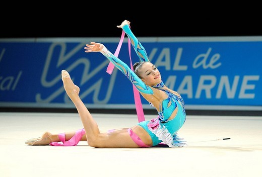 Rhythmic gymnastics, Evgeniya Kanaeva, Jewgenija Kanaewa or Kanjewa, Russia : Stock Photo