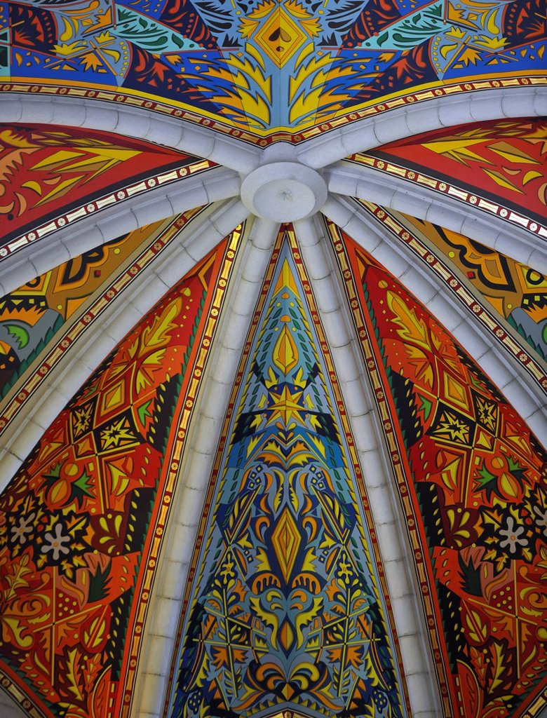 Stock Photo: 1848-588585 Painted ceiling of the dome, interior view, Almudena Cathedral, Santa María la Real de La Almudena Cathedral, Madrid, Spain, Europe