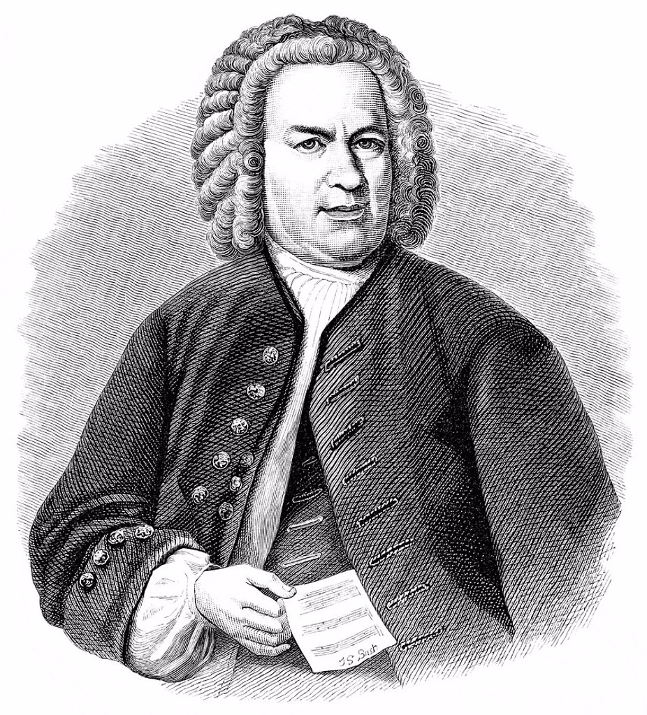 Stock Photo: 1848-588743 Historic drawing from the 19th century, portrait of Johann Sebastian Bach, 1685 _ 1750, a German composer and piano virtuoso of the Baroque