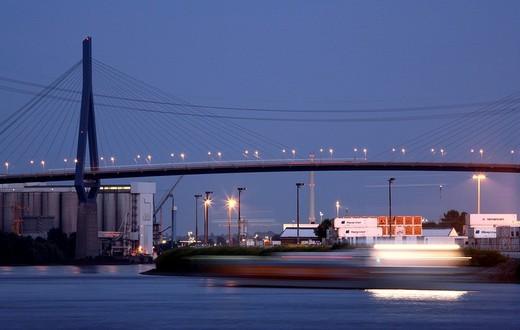 Stock Photo: 1848-58881 Shipping traffic in the port of Hamburg, Koehlbrandbruecke bridge, Hamburg, Germany, Europe