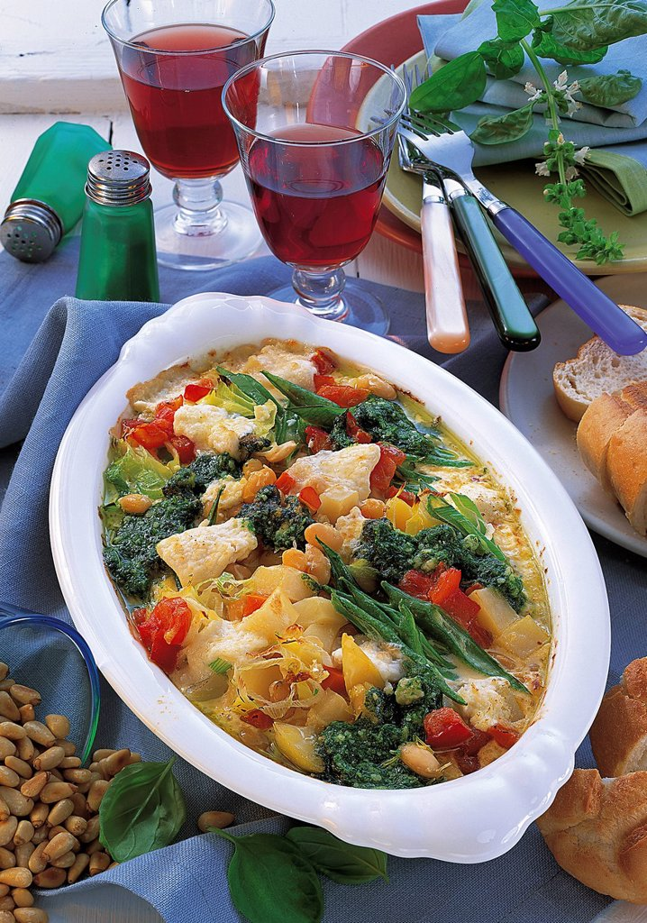 Stock Photo: 1848-588873 Summer vegetable casserole, France, recipe available for a fee