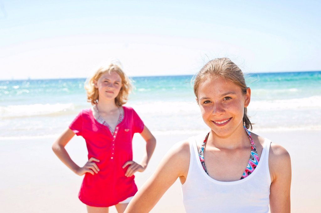 Stock Photo: 1848-589040 Two teenagers on the beach, Camaret_sur_Mer, Finistere, Brittany, France, Europe