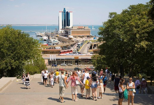 Stock Photo: 1848-58932 Tourists on the Potemkin Stairs, best_known landmark of Odessa, at the Black Sea, in the Ukraine, Eastern Europe