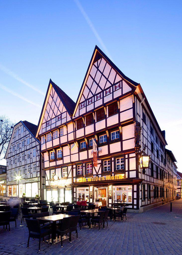 Stock Photo: 1848-589447 Half_timbered house on the market, Haus Im Wilden Mann restaurant, Soest, North Rhine_Westphalia, Germany, Europe, PublicGround