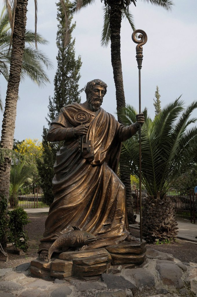 Statue of Saint Peter, Capernaum, Israel, Middle East : Stock Photo