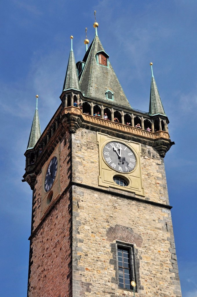 Stock Photo: 1848-589844 Tower of the Old Town Hall, historic district of Prague, Bohemia, Czech Republic, Europe, PublicGround