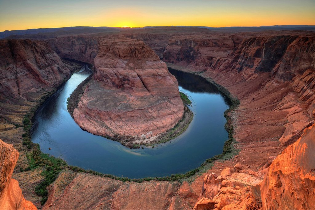 Stock Photo: 1848-589920 Horseshoe Bend or King Bend, a meandering bend of the Colorado River, at sunset, Page, Glen Canyon National Recreation Area, Arizona, United States of America, USA