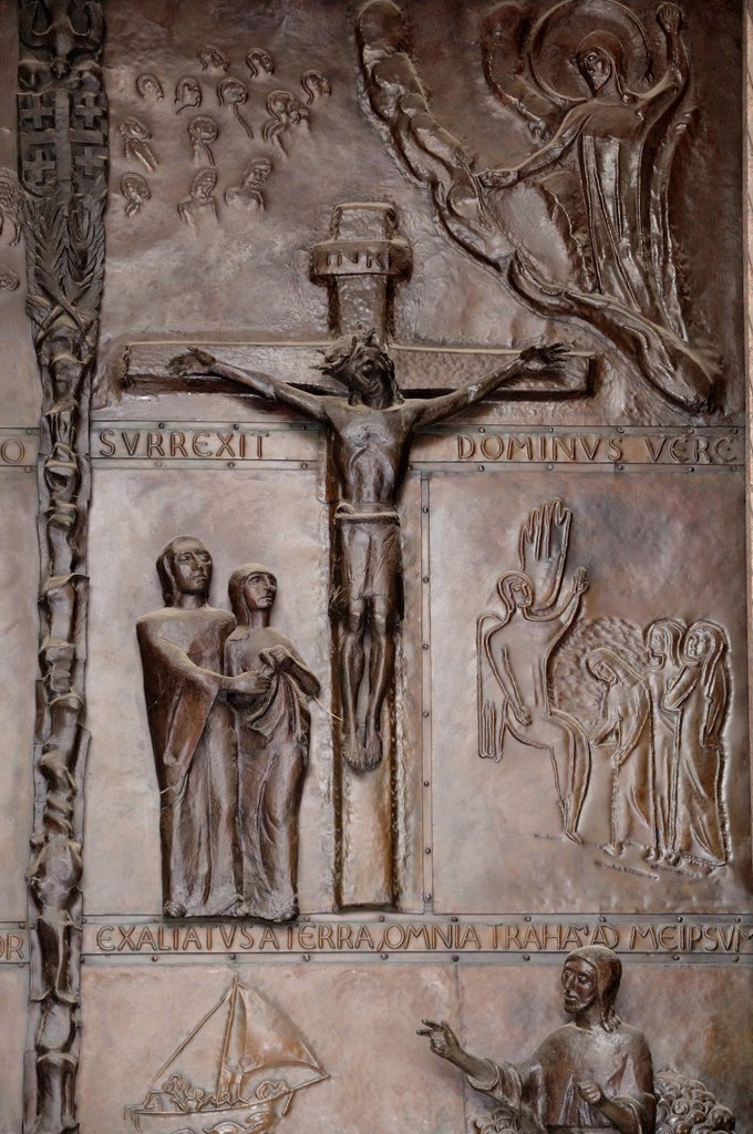 Stock Photo: 1848-590192 Crucifixion of Jesus, bronze relief, bronze door, Church of the Annunciation, Nazareth, Israel, Middle East