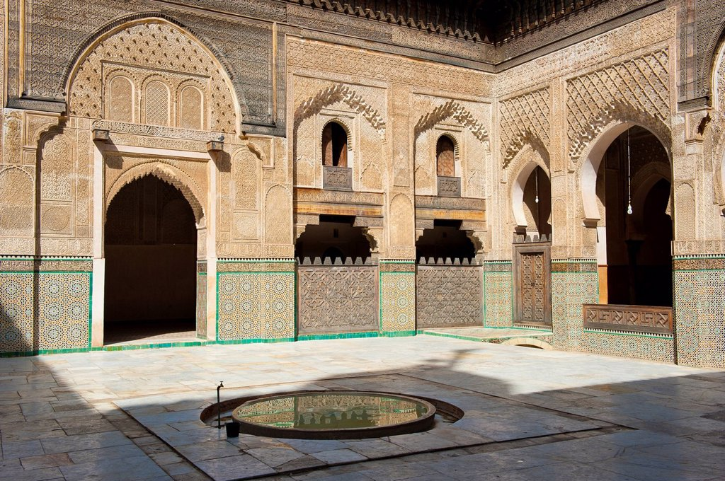 Stock Photo: 1848-590262 Courtyard of the Koran school, Madrasa Bou Inania, with wash fountains, walls and arches with carved cedar wood, stucco ornaments and tiled mosaics, Fez, Morocco, Africa