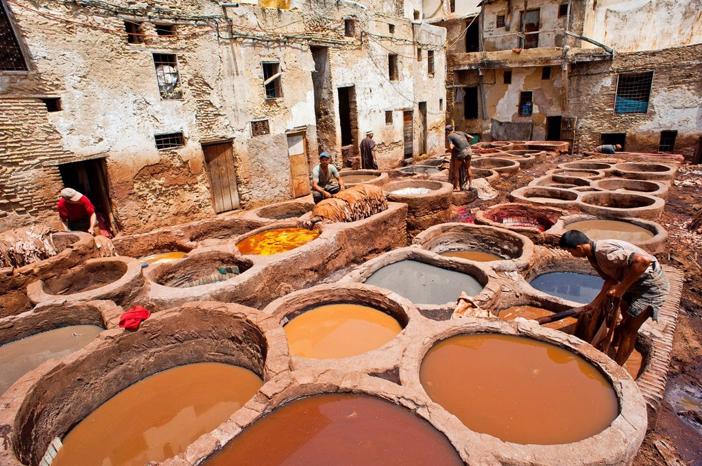 Stock Photo: 1848-590272 Dyeing pits in the traditional tannery in the historic town centre or Medina, UNESCO World Heritage Site, Fez, Morocco, Africa
