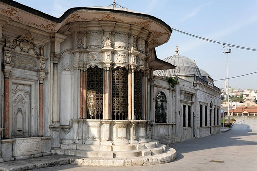 Stock Photo: 1848-59066 Huesrev_Pasa library Ottoman Baroque style, the Golden Horn at Eyuep, Istanbul, Turkey
