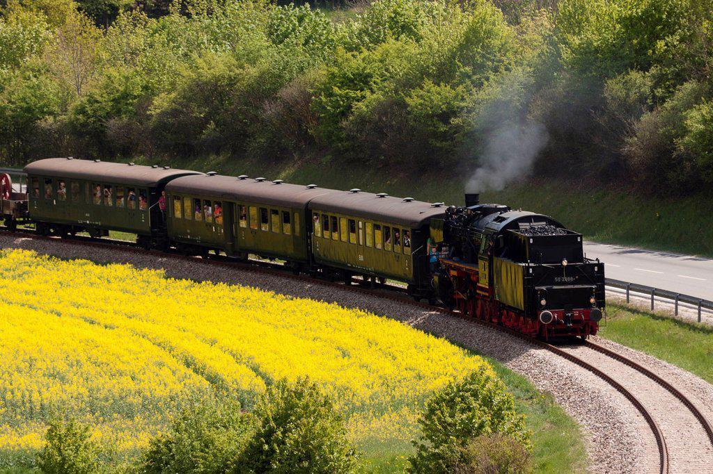 Stock Photo: 1848-591071 The museum railway ´´Sauschwaenzlebahn´´, class 50 locomotive, Blumberg, Baden_Wuerttemberg, Germany, Europe, PublicGround
