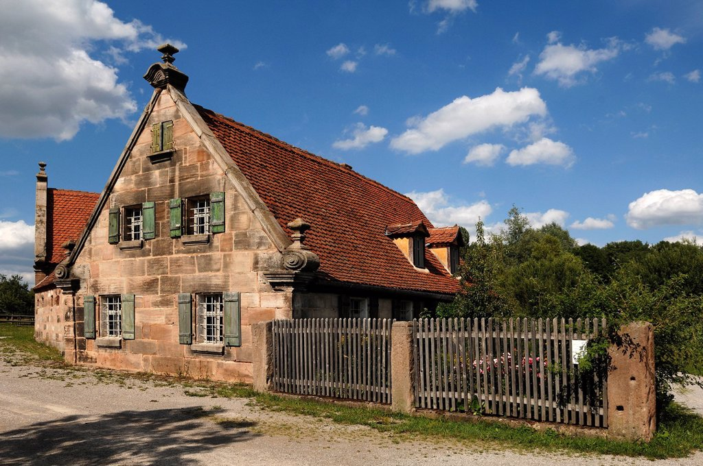 Stock Photo: 1848-591171 Small farm from Fuerth area, 1670, Sandsteingiebel, sandstone gable, Franconian Open Air Museum, Eisweiherweg 1, Bad Windsheim, Middle Franconia, Bavaria, Germany, Europe