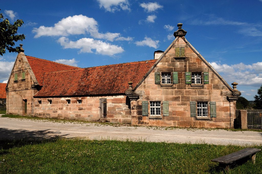 Small farm from Fuerth area, 1670, Sandsteingiebel, sandstone gable, Franconian Open Air Museum, Eisweiherweg 1, Bad Windsheim, Middle Franconia, Bavaria, Germany, Europe : Stock Photo