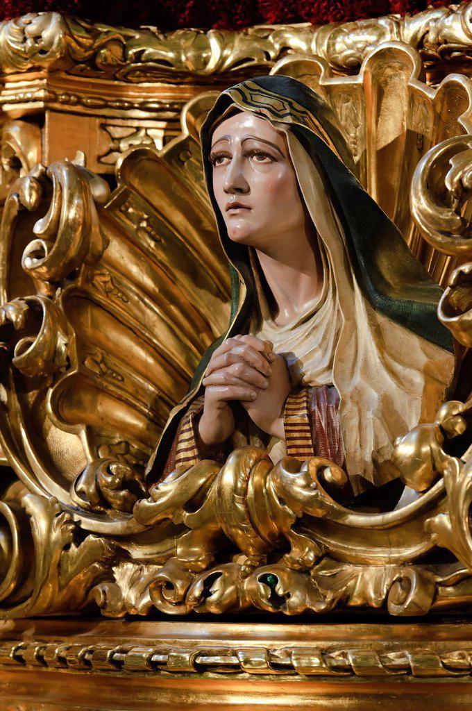 Mary, throne of the brotherhood Cofradia de la Esperanza, Semana Santa, Holy Week, Malaga, Andalucia, Spain, Europe : Stock Photo