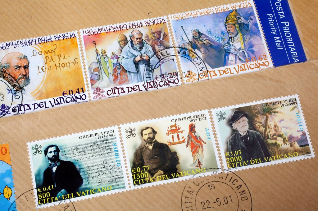 Stamped stamps from the Vatican, Giuseppe Verdi and historical motifs with Pope Leo IX, Vatican, Italy, Europe : Stock Photo