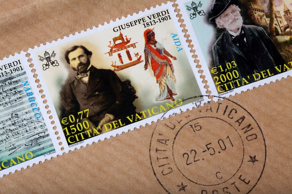 Stock Photo: 1848-591681 Stamped stamps from the Vatican, Giuseppe Verdi, Vatican, Italy, Europe