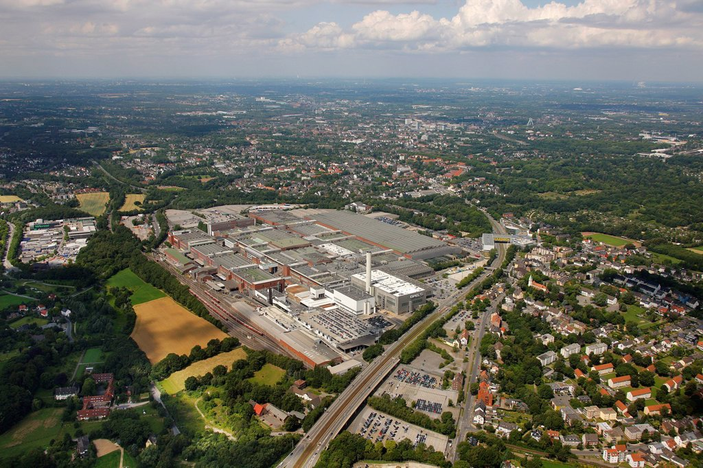 Aerial view, Opel Werk 1, car production plant, Bochum, Ruhr Area, North Rhine_Westphalia, Germany, Europe : Stock Photo