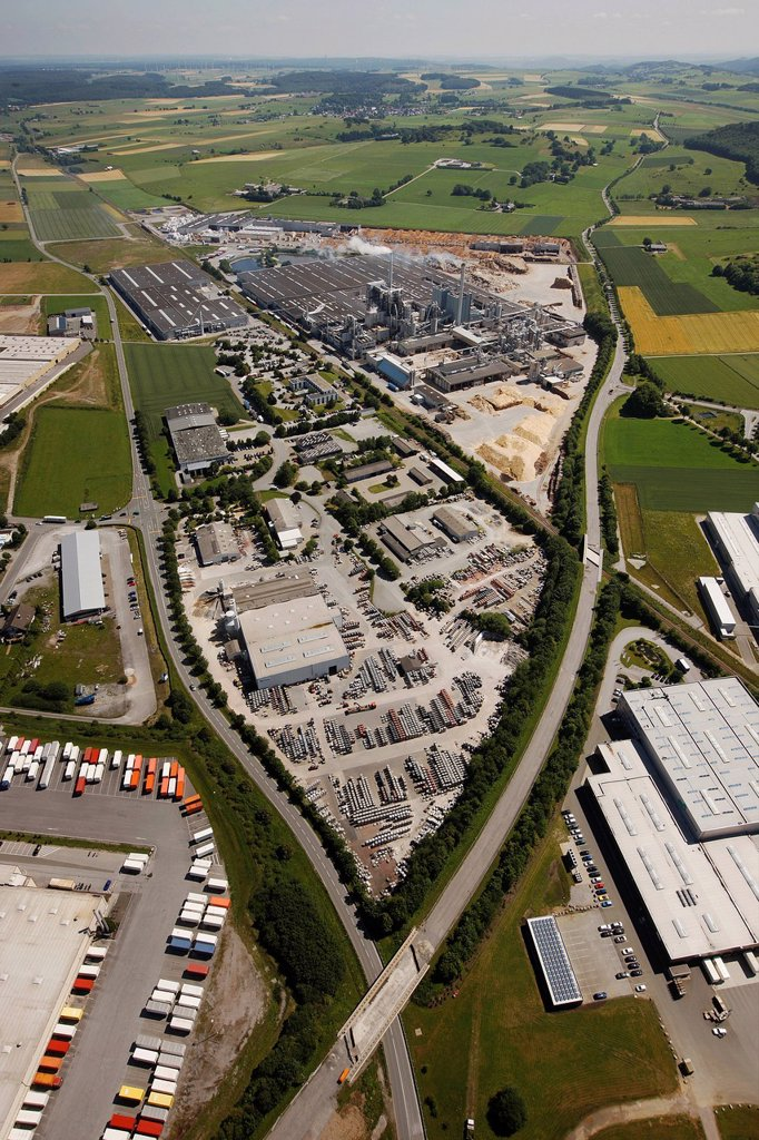 Stock Photo: 1848-591706 Aeria view, Egger Holzwerkstoffe Brilon GmbH & Co KG, wood industry company, Brilon, Sauerland region, North Rhine_Westphalia, Germany, Europe