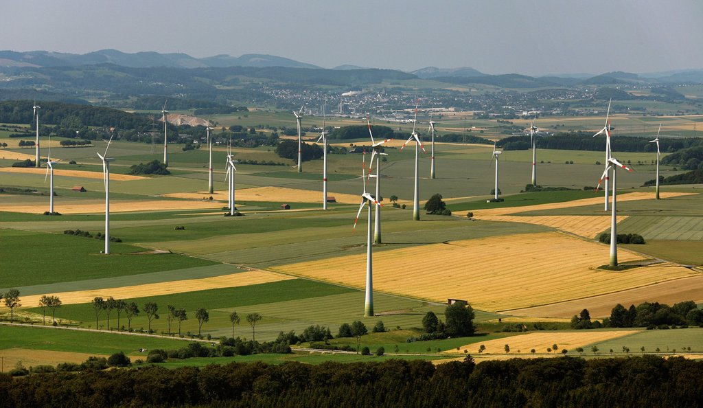 Aerial view, wind turbines, wind farm, Paderborn, Sauerland, North Rhine_Westphalia, Germany, Europe : Stock Photo