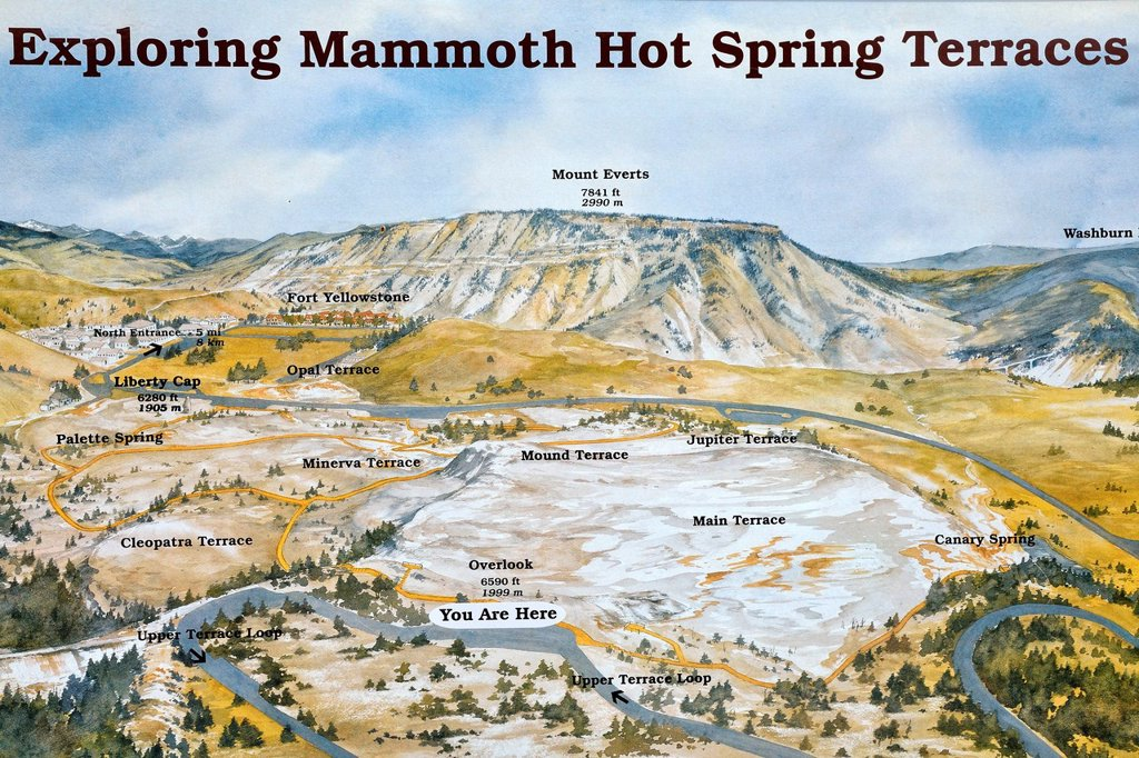 Stock Photo: 1848-592284 Information board at the Mammoth Hot Spring Terraces, Yellowstone National Park, Wyoming, USA
