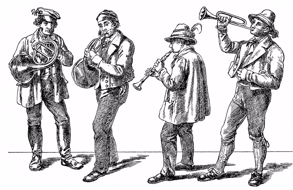 Stock Photo: 1848-592311 Historical drawing from the 19th Century, peasant musicians, folk music from the 19th Century