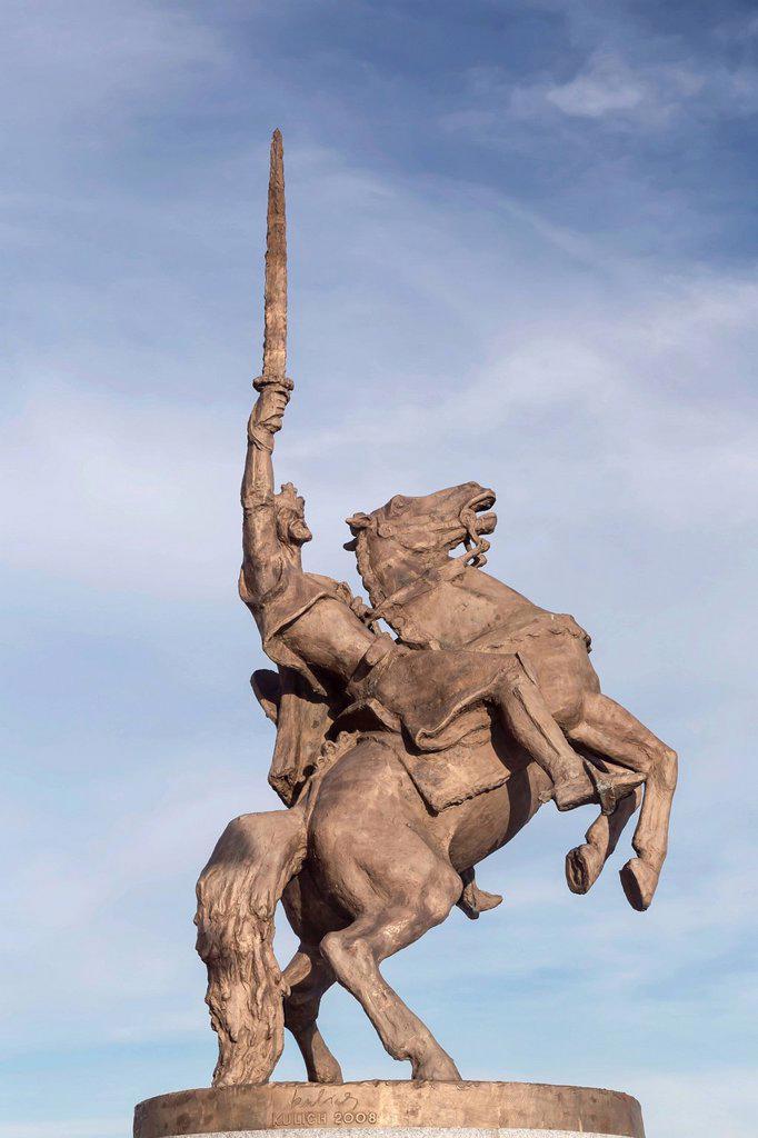 Stock Photo: 1848-592403 Equestrian statue of Sventopluk at Bratislava Castle, Bratislavský Hrad, Bratislava, Slovak Republic, Europe