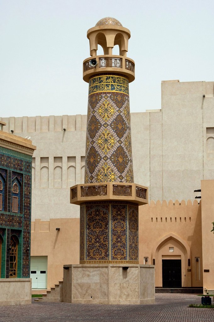 Stock Photo: 1848-592480 Minaret of a mosque int eh Katara Cultural Village, Doha, Qatar, Middle East