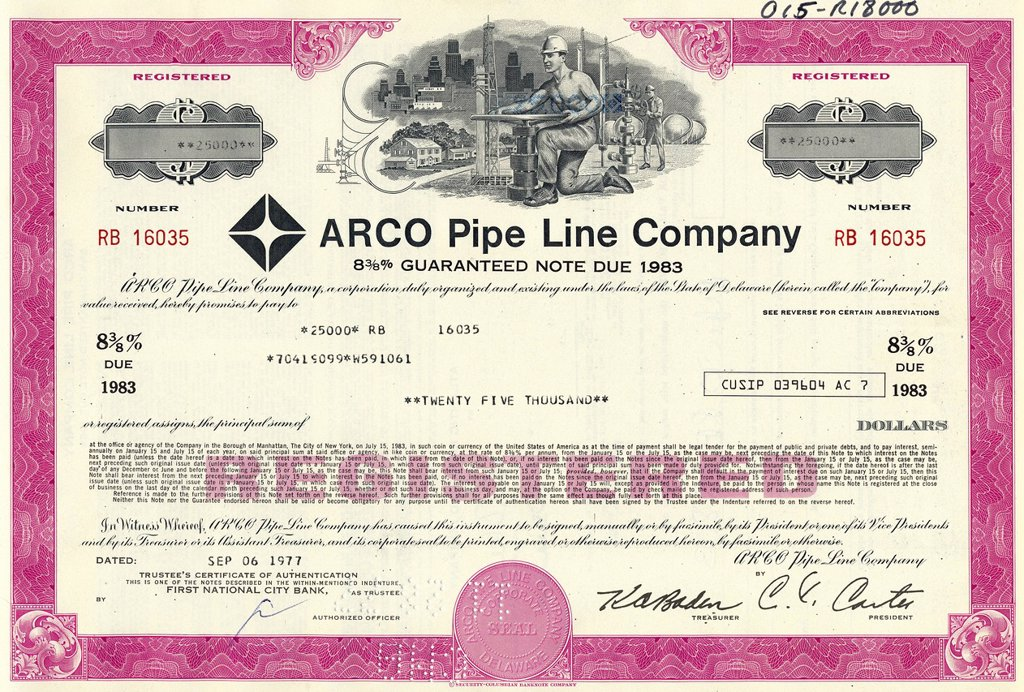 Stock Photo: 1848-592499 Historical stock certificate of an oil and gas company, design showing a man opening a valve of a pipeline in front of oil derricks, oil tanks and a city, Atlantic Richfield Company, now part of BP, ARCO Pipe Line Company, Delaware, USA, 1977