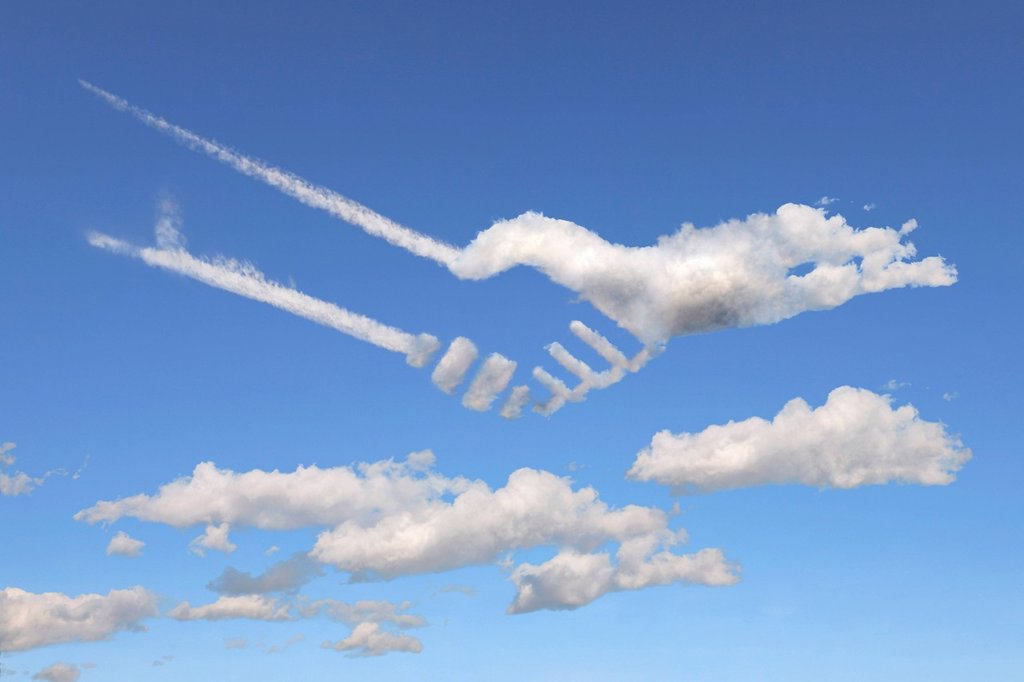 Stock Photo: 1848-592716 Clouds shaped like shaking hands, illustration