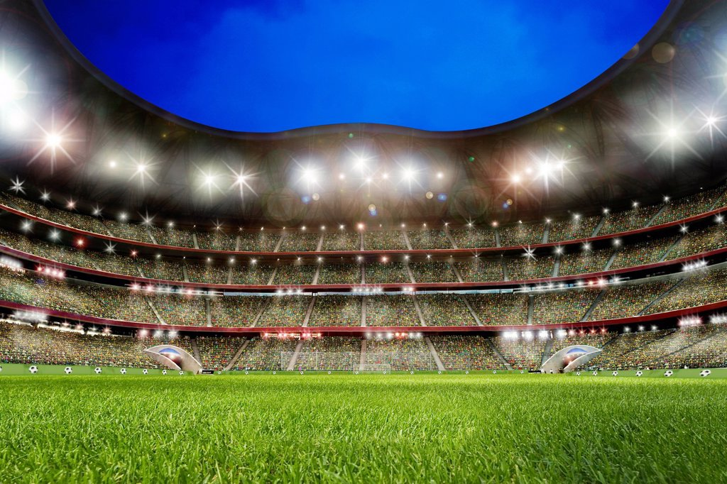 Soccer stadium, lawn : Stock Photo