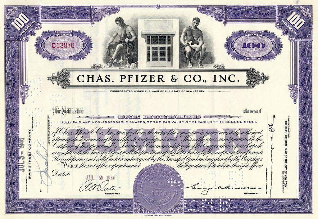 Stock Photo: 1848-593134 Historical stock certificate of a pharmaceutical company, Chas. Pfizer & Co., Inc., New Jersey, USA, 1946