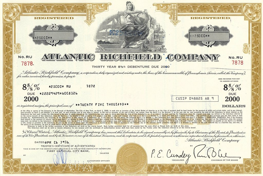 Stock Photo: 1848-593137 Historical stock certificate of an oil and gas company, Reiter_Foster Oil Corporation, Delaware, USA, 1958
