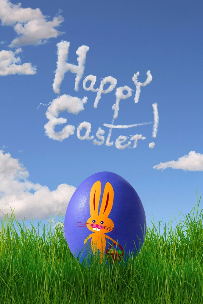 Stock Photo: 1848-593318 Easter egg painted with a Easter bunny, lettering ´´Happy Easter´´