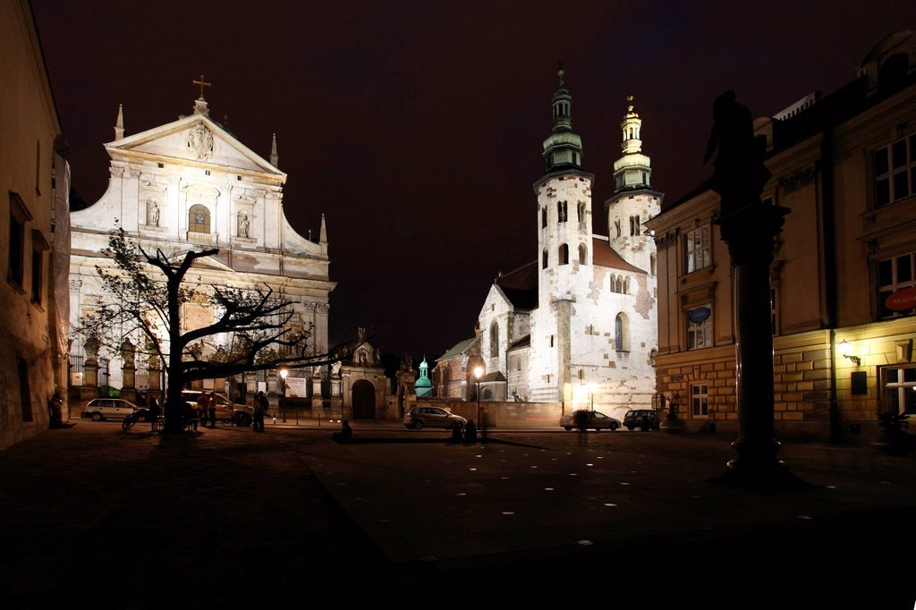 Stock Photo: 1848-593374 Church of St. Peter and Paul, St. Andrew´s Church, Mary Magdalene square at night, Krakow, Poland, Europe