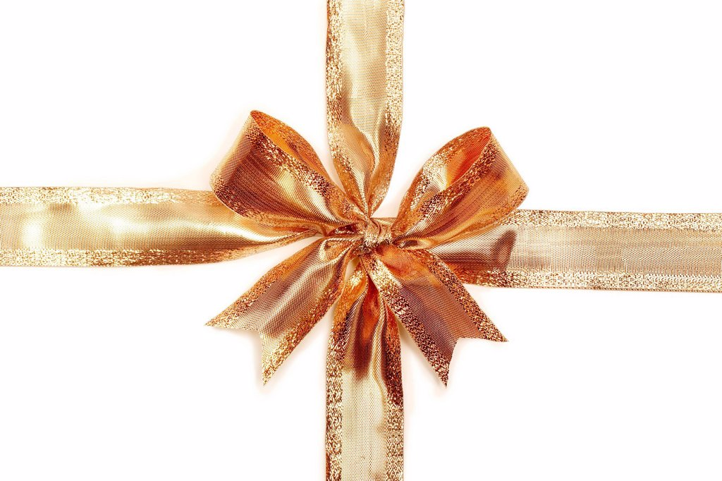 Stock Photo: 1848-593400 Gold ribbon tied in a bow