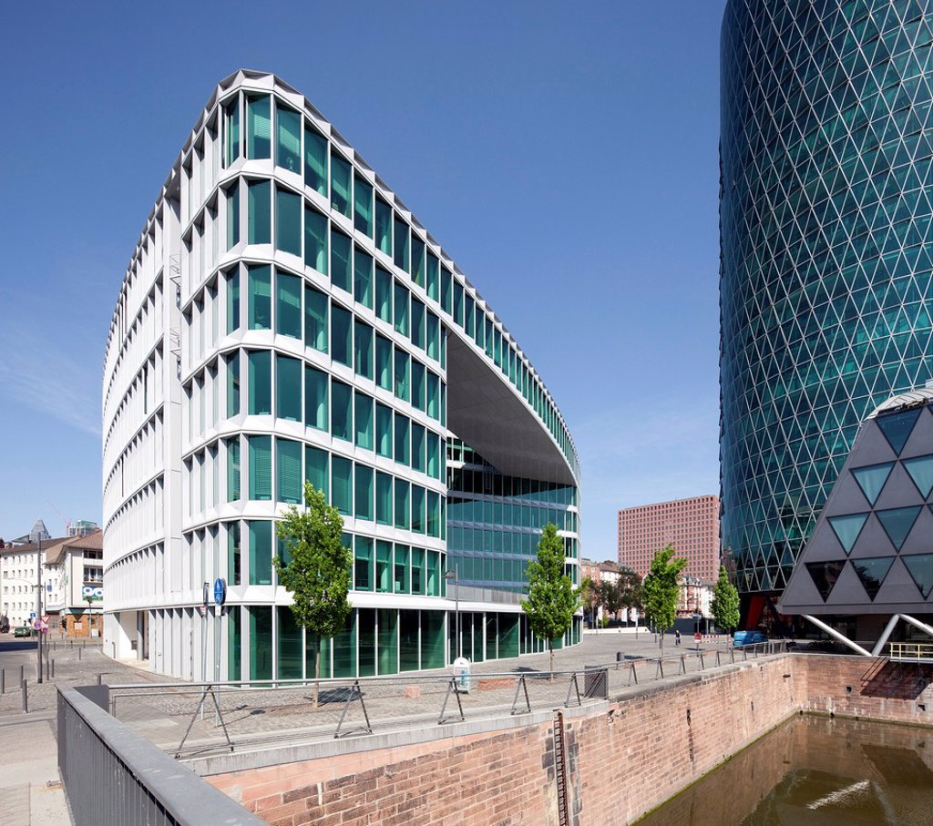 Office buildings with Westhafen_Haus and Westhafen_Tower, Westhafen, Frankfurt am Main, Hesse, Germany, Europe, PublicGround : Stock Photo