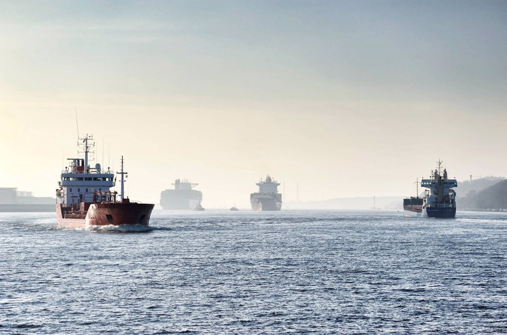 Cargo ships and tankers, Port of Hamburg, Germany, Europe : Stock Photo