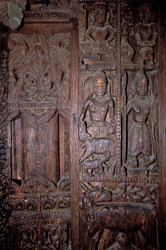 Stock Photo: 1848-593632 Wood carvings, Hadimba Devi Temple, Manali, Kullu District, Himalayas, Himachal Pradesh, North India, India, Asia