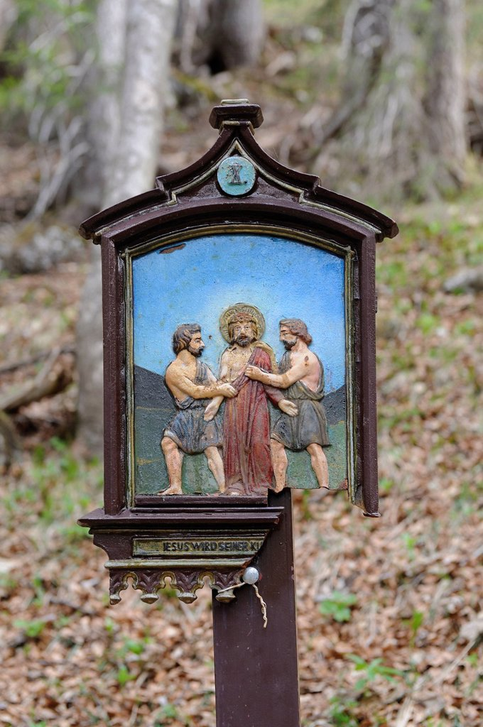 Stock Photo: 1848-593686 Stations of the Cross at Riederstein, Station X, Jesus is stripped of his garments, Rottach_Egern, Lake Tegernsee, Upper Bavaria, Bavaria, Germany, Europe, PublicGround