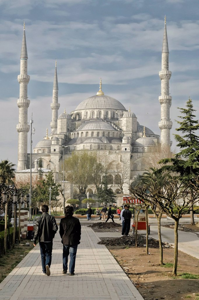 Stock Photo: 1848-593700 Blue Mosque, Sultan Ahmed Mosque, Istanbul, Constantinople, Byzantium, the Bosphorus, Turkey, Europe