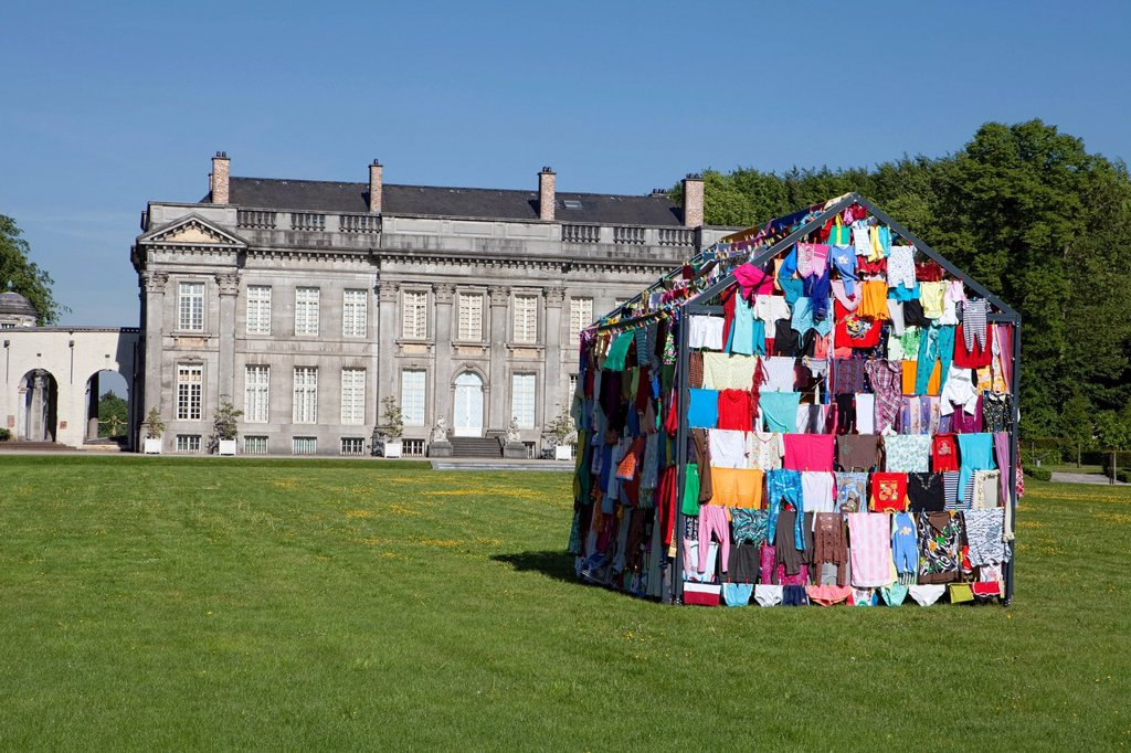 Stock Photo: 1848-593820 House made from colorful clothes, art installation by Loreta Visic_Washuis, CABANES 2011, Château de Seneffe castle, Seneffe, Hainaut province, Wallonia, Belgium, Europe