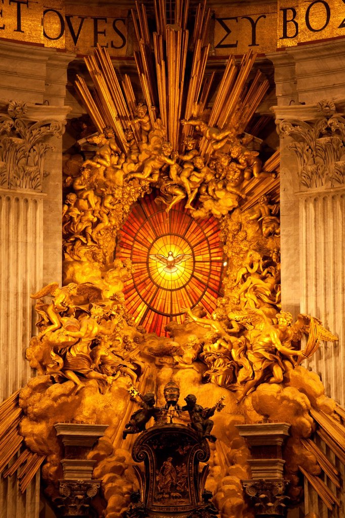Stock Photo: 1848-593855 Bernini´s Cathedra Petri in St. Peter´s Basilica, Vatican City, Rome, Lazio, Italy, Europe